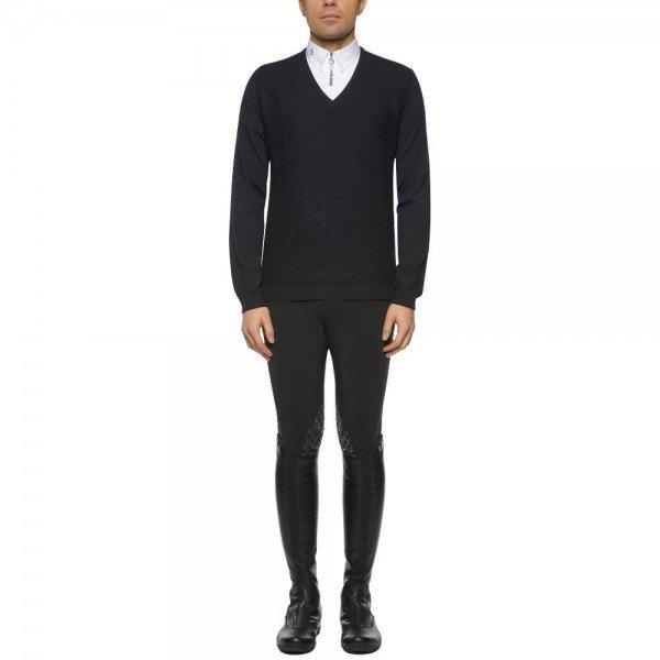 Cavalleria Toscana Pullover Herren Wool Knit Honeycomb V-Neck FS21